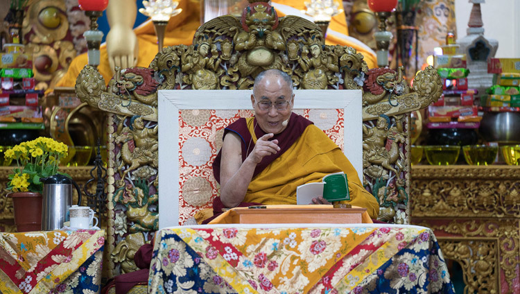 His Holiness the Dalai Lama during the first day of his two day teaching at the Main Tibetan Temple in Dharamsala, HP, India on March 13, 2017. Photo by Tenzin Choejor/OHHDL